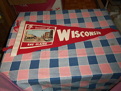 "Souvenir Eau Claire Wisconsin Old Felt Pennant 19 1/2"" Long w/o Ties Red"