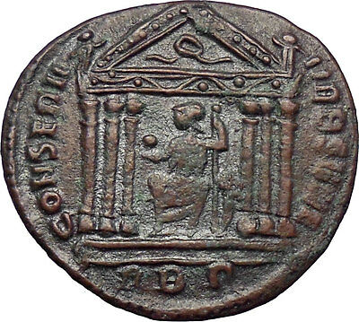 Maxentius 307AD Rare HUGE Ancient Roman Coin Hexastyle temple of Roma i28562