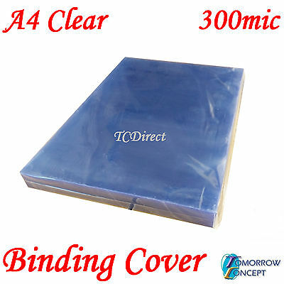 A4 300 micron Clear PVC Binding Covers (PK of 100)