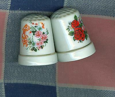 2 Pretty Thimbles  Flowers   Red & Pink