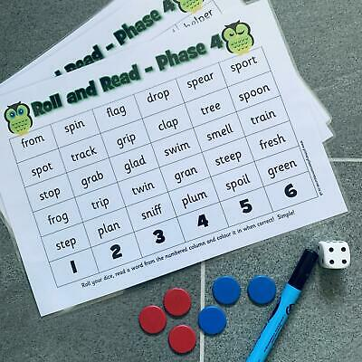 Letters & Sounds Phase 4 Words Roll and Read Activity Phonics Game - Set of 6