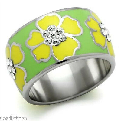 Yellow Hawaiian Flower Enamel Wide Band Silver Stainless Steel Ladies Ring New