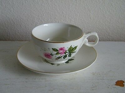 Vintage  HALL China Heather Rose Cup Saucer Sabin Cathy 6233