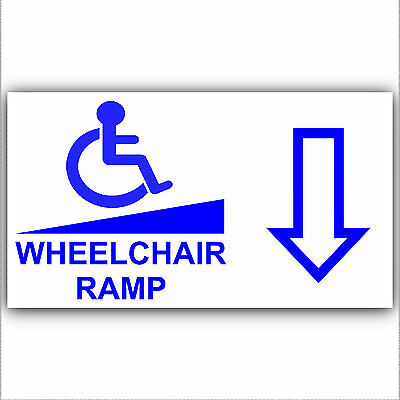 Wheelchair Ramp Access Sticker Sign-Disabled,Disability,Mobility-Back Arrow Down