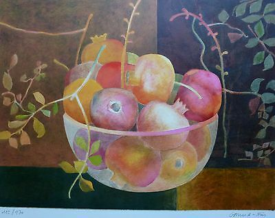 """Pierre Garcia-Fons """"pomegranate"""" HAND SIGNED LIM.ED 115/170 LITHOGRAPH French"""
