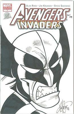 Avengers Invaders #1 Df Dynamic Forces Signed Remarked Wolverine Iron Man Sketch