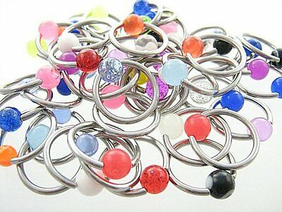 10 CBR Captive Rings Assorted Colours 14g 12mm