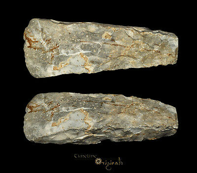 DANISH NEOLITHIC STONE AGE THICK BUTTED AXE tool flint axehead 025046
