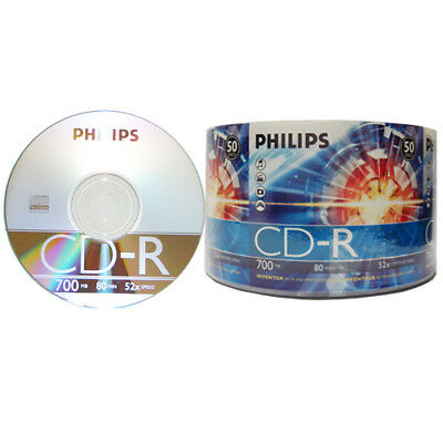 50-pk Philips branded 52X CD-R Blank Recordable CD CDR Media Disk CR7D5NV50/17