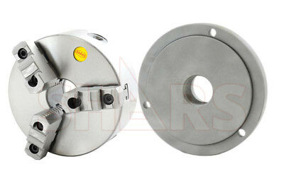 """SHARS 6""""3 Jaw Self Centering Lathe Chuck With 2-1/4""""-8 Back Plate for South Bend"""