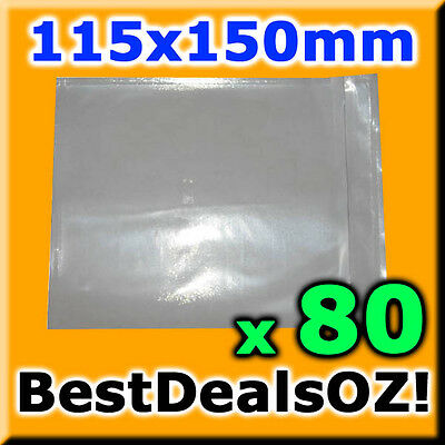80 PCS Clear Blank Invoice Envelope Document Enclosed Sticker Pouch 115x150mm