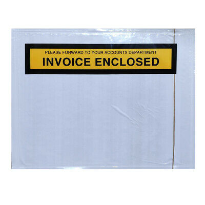 80 x  Invoice Enclosed Printed Envelope Document Sticker Pouch 115x150mm