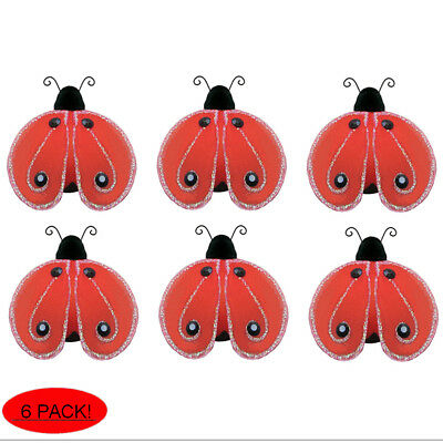 Mini Red Ladybugs Small Lady Bug Decorations Craft Party Baby Shower Shimmer 2""