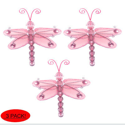 Mini Dragonflies Small Pink Wire Hanging Nylon Dragonfly Decor Bedroom Wall 3""