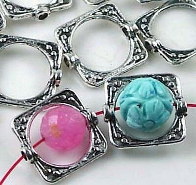 20 Silver Pewter Square Frame Beads 15mm ~ Lead Free~