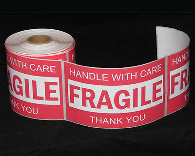 250x Fragile Handle With Care Thank You Adhesive Label 127x76mm Sticker Roll