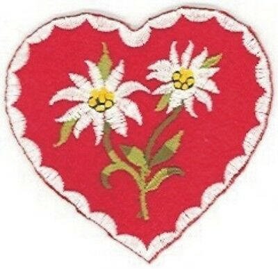 German Edelweiss edelweiß Flower Red Heart Embroidery Patch Applique