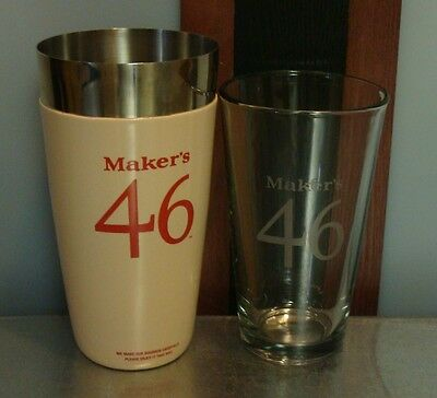 MAKER'S MARK 46 RUBBER COATED SHAKER WITH 16oz. GLASS NEW