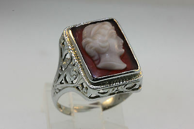 VICTORIAN STYLE 18k WHITE GOLD FILIGREE MOUNT RING w/SIDE PORTRAIT CAMEO SZ 6.25