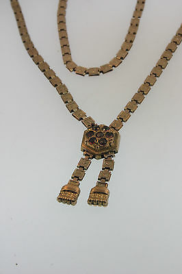 Exceptional 1880 Antique Victorian Pendant Yellow Rose Gold/F Bookchain Necklace