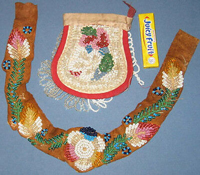 Authentic Old Native American Indian Hat Band & Pouch * Tribe ? *free Ship Ad767