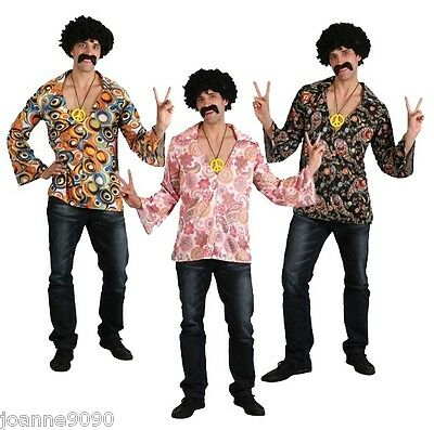 Mens Adult Flower Power 60s 70s 1960s Hippy Hippie Fancy Dress Costume Shirt