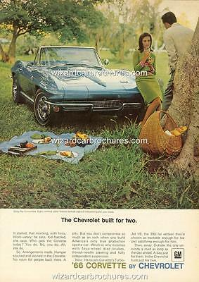 1966 Chevrolet Corvette A3 Poster Ad Sales Brochure Mint Advertisement Advert