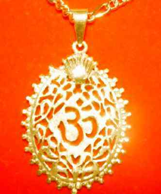 Gold plated over Sterling Silver 925 Charm Pendant Ganesh Hindu OM Crown Jewelry