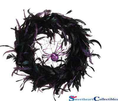Halloween 20 Feathered Wreath With Spider Raz Imports