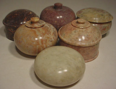 6 carved shapes ~ 6 STONE BOWLS SET ~ Wonderful colors!