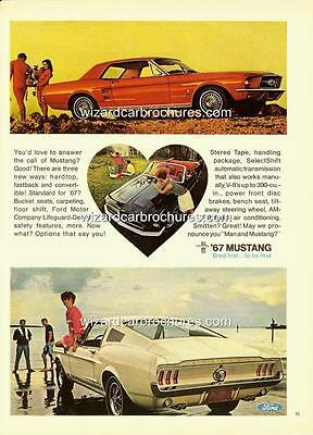 1967 Ford Mustang A3 Poster Ad Advert Advertisement Sales Brochure Mint