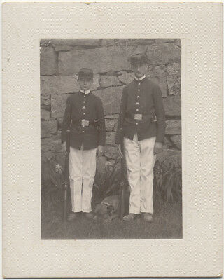 Military Photo ~ 2 Young Cadets & Dog