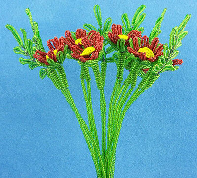 Vintage French Glass Beaded Red Daisy Flower Bouquet