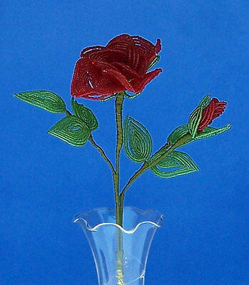 Vintage French Glass Beaded Red Rose & Bud (Dark) Flower