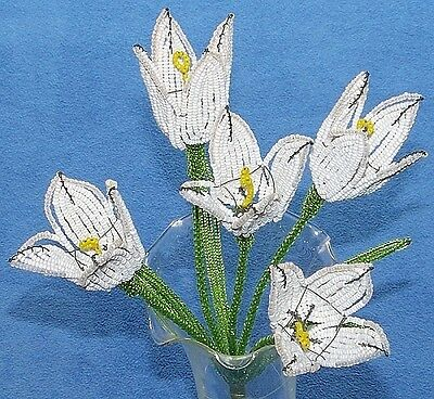 Vintage French Glass Beaded White Tulip (5) Flower Bouquet