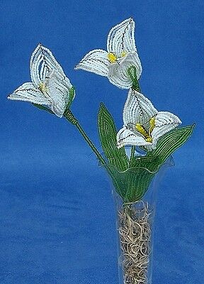 Vintage French Glass Beaded White Tulip Flower Bouquet