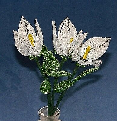 Vintage French Glass Beaded White Tulip Trio Flower Bouquet