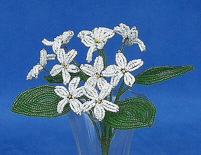 Vintage French Glass Beaded White Violet Flower Bouquet
