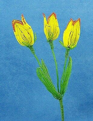 Vintage French Glass Beaded Yellow Tulip (2) Flower Bouquet