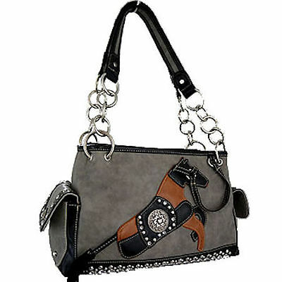 Horse & Western Ladies Womens Horse Motiff Handbag - Montana West - Grey