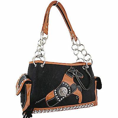 Horse & Western Ladies Womens Horse Motiff Handbag - Montana West - Black