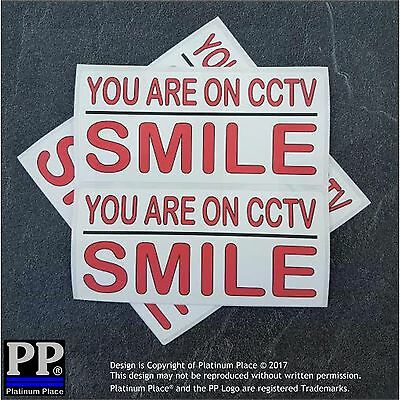 Smile-You are on CCTV-Warning Security Camera Adhesive Stickers Signs Recording