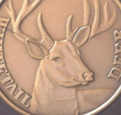 Buck Whitetail Deer coin Bronze Engravable Gift Medallion with die crack