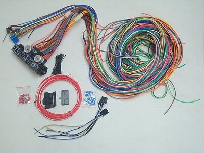 12v 24 Circuit 15 Fuse Street Hot Rat Rod Wiring Color Harness Wire Kit COMPLETE