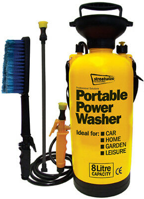 Portable Pressure Power Washer Pump 8L Spray Jet Car Wash Lance Cleaner Brush