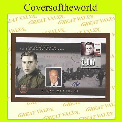 Antigua/Barbudas 2004 D-Day anniv.,Les Perry survivor signed First Day Cover