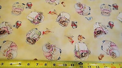 Beatrix Potter The Tale of Mrs Tiggy Winkle Toss Allover Yellow Cotton Fabric