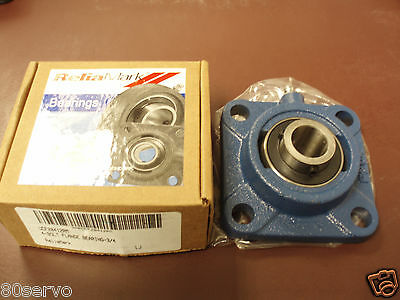 "Relia Mark Flange Mounted Bearing  4 Bolts  Bore: 3/4""  # Ucf20412Rm   New"