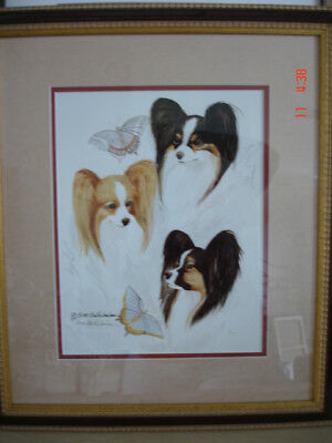 PAPILLON TRIO dog ART canine MATTED FRAMED ltd edition HARD TO FIND *MINT*