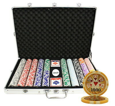 1000 14G High Roller Casino Table Clay Poker Chips Set New